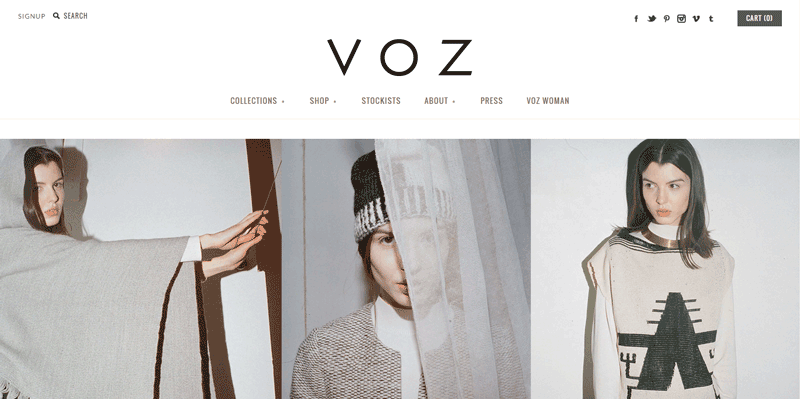 Voz Apparel's Shopify store